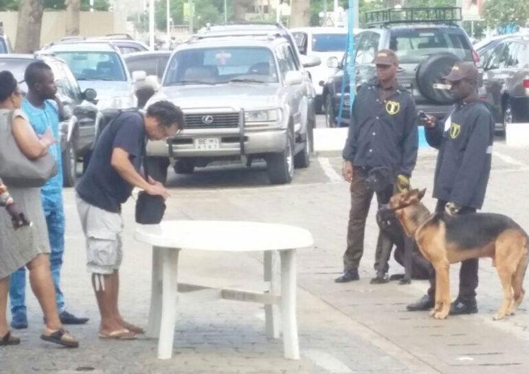 Agents de sécurité privée fouillant des hommes et surveillant avec un chien