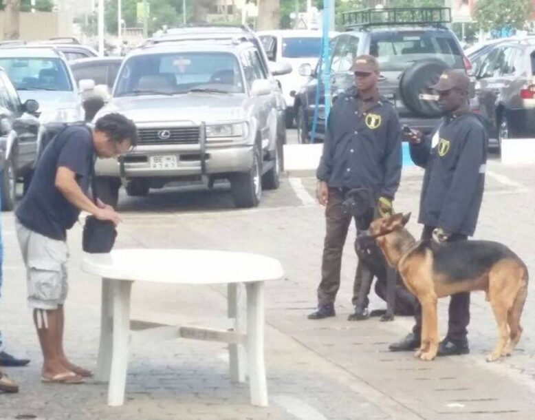 control par les agents de securité privée avec un chien
